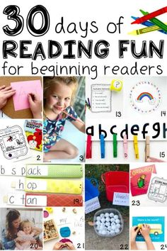 Join us on our 30 Days of Reading Fun for Beginning Readers series! Each day we will highlight a fun and interactive activity designed to help your child (or student) learn to read! Teaching Reading, Teaching Kids, Kids Learning, Preschool Literacy, Literacy Activities, Kindergarten, Outdoor Activities For Toddlers, Hands On Activities, Phonological Awareness Activities