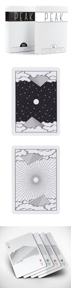"""custom designed playing cards that celebrate each of Colorado's 53 """"14ers"""" (mountain peaks 14,000 feet or more above sea level)."""