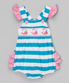 Another great find on #zulily! Blue & Pink Whale Ruffle Bubble - Infant & Toddler #zulilyfinds