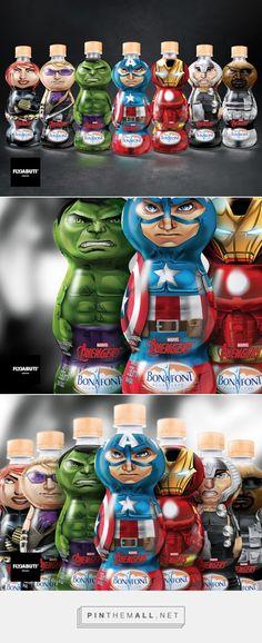 Bonafont Avengers Bottle Packaging designed by Fly Jabuti Design - http://www.packagingoftheworld.com/2015/10/bonafont-avengers.html