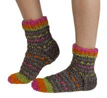 Arica wool sofa/ bed socks in bark   Fairtrade and hand-made by Pachamama