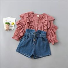 years high quality girl clothing set 2019 new autumn fashion tiered ruched solid shirt + denim pant kid children clothing , Dance Outfits, Kids Outfits, Cute Outfits, Red Fashion, Autumn Fashion, Valentines Outfits, Kids Pants, Spring Collection, Spring Outfits