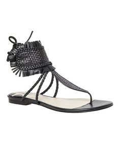 Love this Black Verde Woven Leather Sandal by Maxstudio.com on #zulily! #zulilyfinds