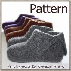 Ravelry: Simply Felted Ladies Slippers pattern by Kim Miller Crochet Socks, Knit Or Crochet, Knitting Socks, Easy Crochet, Vogue Knitting, Felted Slippers Pattern, Knitted Slippers, Slipper Socks, Knitting Patterns