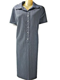 3158d2487 Polyester Shirt Dress Blue and White Check Bumblebee Patch Button Down Lady  Queen 70 s Size 38