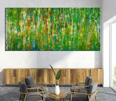 Room View - Consciousness forest spectra by Nestor Toro (2019) 79 x 37 inches Large Painting, Acrylic Painting Canvas, Abstract Expressionism Art, Abstract Art, Color Blending, Consciousness, Original Paintings, Fine Art, Artwork
