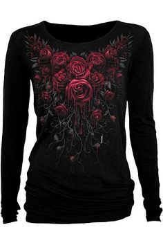 Blood Rose Longsleeve Viscose Top by Spiral Direct | Ladies