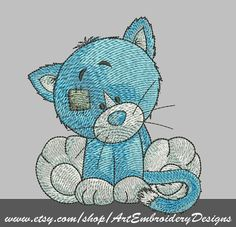 """Kitty - machine embroidery design for a baby and children of series """"Old Toy"""""""