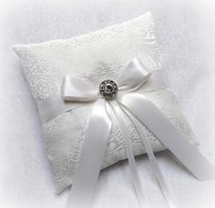 White Jacquard Fabric Ring Bearer Pillow with by yellowroseaccents, $27.95