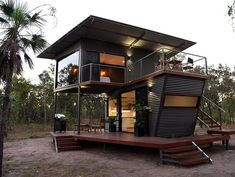 The Magnificent Hideaway Litchfield Container Cabin in Nature - Australia - Living in a Container Container Home Designs, Container Van House, Building A Container Home, Container Cabin, Container Buildings, Bungalows, Ideas De Cabina, Tiny House Exterior, Casas Containers