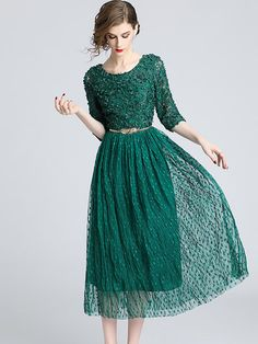 c25a6de1dcf A-Line Vintage Lace Green Evening Midi Dress