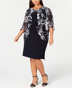 f23cc9b700b Connected Plus Size Printed Chiffon Cape Dress