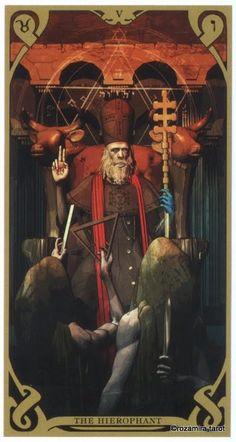 The Hierophant - Night Sun Tarot by Fabio Listrani All Tarot Cards, Le Tarot, Epic Of Gilgamesh, The Hierophant, Tarot Major Arcana, Tarot Card Decks, Oracle Cards, Archetypes, Celestial