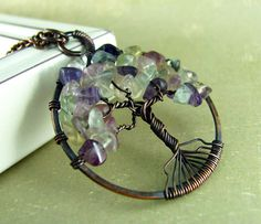 Tree Of Life Pendant Wire Wrapped Jewelry Copper Fluorite Necklace Wire Work. $30.00, via Etsy.