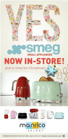 SMEG SMALL APPLIANCES now in store @ Manrico Select