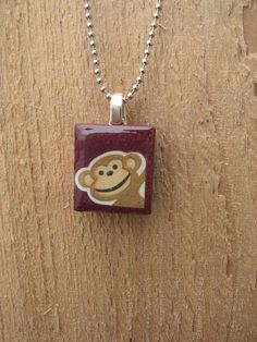 Monkey Scrabble Tile Necklace by SweaterWeather on Etsy, $8.00