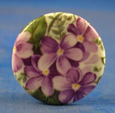 "1""  PORCELAIN CHINA  BUTTON -- VIOLETS"