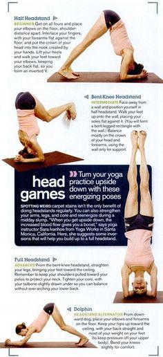 Secuencia para realizar a postura sobre a cabeza.