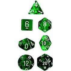 Chessex Dice: Polyhedral 7-Die Translucent Dice Set - Green