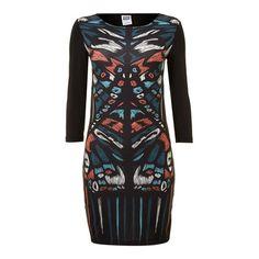 Vero Moda Fenna 3/4 Sleeve Printed Dress Wetsuit, Printed, Swimwear, Sleeves, Black, Dresses, Fashion, Scuba Wetsuit, Bathing Suits