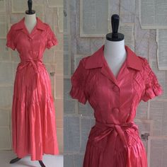 1940s Salmon Pink Taffeta Smocked Evening Dress $110.00