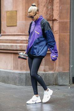 56d88445df237 Hailey Baldwin wearing Messika Move Addiction Pavé Earrings, Adidas Falcon  Triple White Sneakers, Alo Yoga High-Waist Airlift Airbush Leggings,  Martine Rose ...