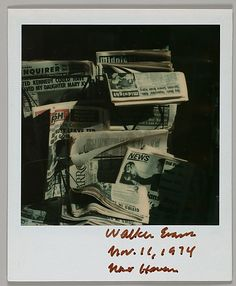 Walker EVANS :: Newspapers on Stand, New Haven, Connecticut [Polaroid], Nov. 11th, 1974