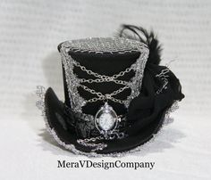 Black Mini Top Hat,Raven Steampunk Hat, Women Headpiece,Tea Party Hat, Mad Hatter Hat, Gothic hat, Working Clock, Key, Corset READY TO SHIP