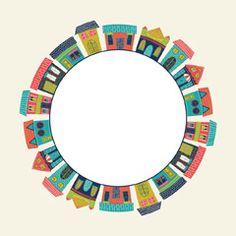 [フリーイラスト素材] イラスト, 背景, 家 / 住宅, 都市 / 街, 建築物 / 建造物, 輪 / リング, フレーム, EPS ID:201410210500