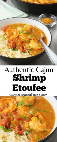 cajun dishes My authentic Cajun shrimp etoufee recipe starts with a simple roux of oil and flour. Then add the holy trinity, along with tomatoes, shrimp, and seasonings! Louisiana Recipes, Cajun Recipes, Fish Recipes, Seafood Recipes, Cooking Recipes, Healthy Recipes, Shrimp Dinner Recipes, Cajun And Creole Recipes, Simple Shrimp Recipes