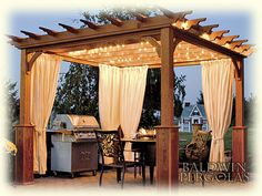 I ADORE this pergola!!! I like the lighting and the curtains. All that's missing is a brick over and some wooden Adirondack chairs! Wood Standard Pergola Features: Unstained pressure treated pine, solid laminated 5x5 posts, solid 2x6 joists with scalloped ends, 2x4 runners with scalloped ends, mounting brackets for concrete and decks. Pergola is shown with canyon brown stain, and 4 superior posts.