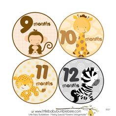 Baby Month Milestone Stickers Boys Monthly by LittleBabyBumblebee Baby Birthday Card, Birthday Crafts, Monthly Baby Photos, Baby Month Stickers, First Year Photos, Congratulations Baby, Safari, Baby Month By Month, Little Babies