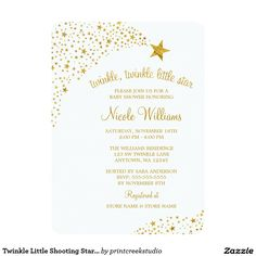 Twinkle Little Shooting Star Faux Gold Baby Shower Card