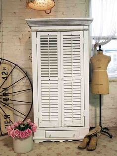 Painted Cottage Chic Shabby Farmhouse One of a Kind Shutter Cabi [FOSC-1] - $595.00 : The Painted Cottage, Vintage Painted Furniture