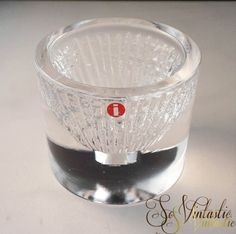 Finnish IITTALA art glass rare candle holder, Votive candle holder, Scandinavian design glass, cut and clear glass, RARE item of Iittala, by SoVintastic, €14.00 only