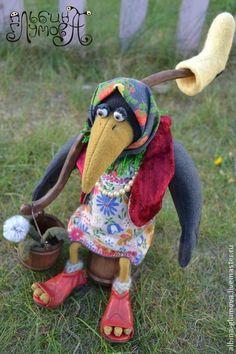 ВОРОНА МАТРЕНА, авторская текстильная игрушка - чёрный,ворона,сельский стиль