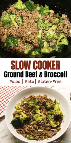 Low Unwanted Fat Cooking For Weightloss Slow Cooker Keto Ground Beef and Broccoli Easy Low Carb Gluten-Free Meal Keto Crockpot Recipes, Slow Cooker Recipes, Gluten Free Recipes, Healthy Recipes, Healthy Meals, Ground Beef And Broccoli, Broccoli Beef, Slow Cooker Ground Beef, Ground Beef Recipes