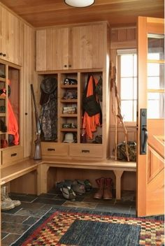 Mudroom with storage for hunting gear. Perfect for my little family someday :)