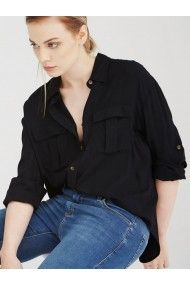 8fe64304992 UNIQUE21 KERR BLACK MILITARY SAFARI POCKETS LONG SLEEVE SHIRT Shirt Sleeves