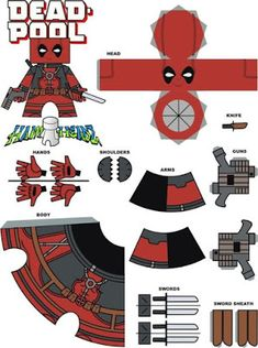[Papercraft] Deadpool New Kids On The Geek Paper Puppets, Paper Toys, Diy Origami, Origami Tutorial, Imprimibles Toy Story Gratis, Diy Valentine's Box, Diy Cadeau, Paper Folding, Paper Models