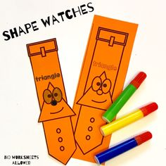 Teach your students to recognize shapes with this FUN activity! Children should color their watch, cut it out and then wear it for the day. An ENGAGING way to get children excited about learning shapes! 2d Shapes Activities, Learning Shapes, Hands On Learning, Learning Activities, Teaching Ideas, Creative Teaching, Math Games, Fun Games, 2d And 3d Shapes