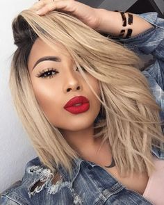 5 Sexy Long Bob Hairstyles & Haircuts for you You Gotta See : Long hair. An excellent combination of styling hair attractively. So, if you have long hair, don't let to create any option from this list. Ombre Hair, Balayage Hair, Red Ombre, Brown Balayage, Curly Hair Styles, Natural Hair Styles, Golden Blonde Hair, Blonde Hair Red Lipstick, Blonde Hair Makeup