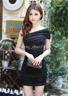 cross diagonal hip dress in black. Club Dresses, Sexy Dresses, Beautiful Dresses, Short Dresses, Tight Dresses, Cotton Dresses, Evening Dresses, Casual Dresses, Ruched Dress
