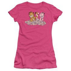 GARFIELD/CHICKS DIG FLOWERS - S/S JUNIOR SHEER - HOT PINK - XL  CHICKS DIG FLOWERS | Cartoon T-Shirts | Mopixiestore.com