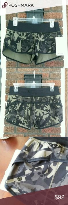 NWT Lulu Speed Short H2O NWT Lulu Speed Short H2O size 4 in camo pop cut fatigue green beautiful print but too small on me. lululemon athletica Shorts