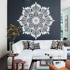 Mandala Wall Art Decals Indian Pattern Yoga Oum Om Sign Decal Vinyl Stickers Home Decor Murals Bedroom Studio Window MN865 Om Sign, Yoga Studio Decor, Wall Decals, Wall Art, Indian Patterns, Mandala Art, Joes Bar, Room Decor, Decor Ideas