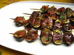 Grilled Fig Appetizer - Figs, Prosciutto, and Basil.