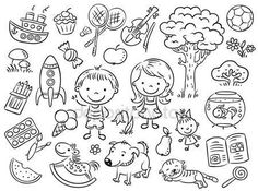 doodleicon.com hand drawn doodle icon - Doodle set of objects from a child's life stock images and illustrations