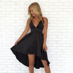 Sexy Deep V Neck Black High Low Prom Dress Homecoming Dress