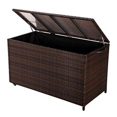 Adeco Patio Entertainment Wicker Storage Box Outdoor or Indoor Bin Mocha >>> Read more reviews of the product by visiting the link on the image.
